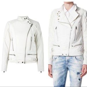 DIESEL - Quilted Leather Moto Jacket White, S NWOT